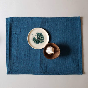 UNC Amsterdam Placemat Recycled Cotton Peacock Blue - Unik by Nature