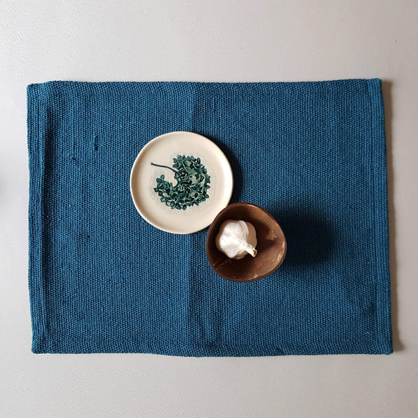 Placemat Recycled Cotton Peacock Blue - Unik by Nature