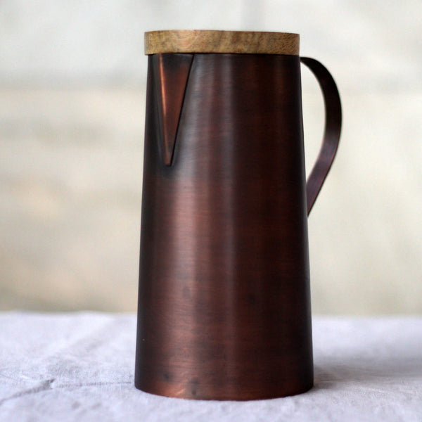 UNC Amsterdam Ayurvedic  Mangal Jug Copper & Mango Wood - Unik by Nature