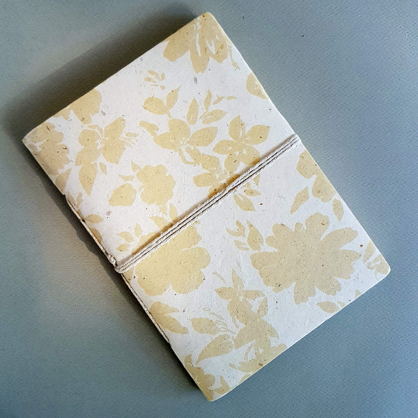 Handmade Lokta Paper Note Book Ecru & White Floral pattern Size L - Unik by Nature