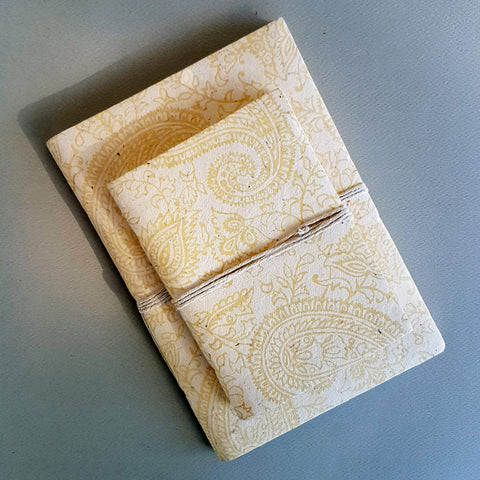 Handmade Lokta Paper Note Book White & Ecru Paisley Pattern Size S - Unik by Nature