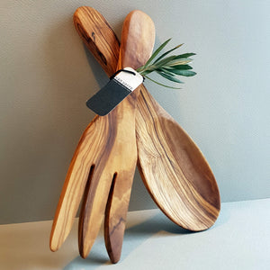 Van Verre Sustainable Olive wood Handmade Shorty Salad Server - Unik by Nature