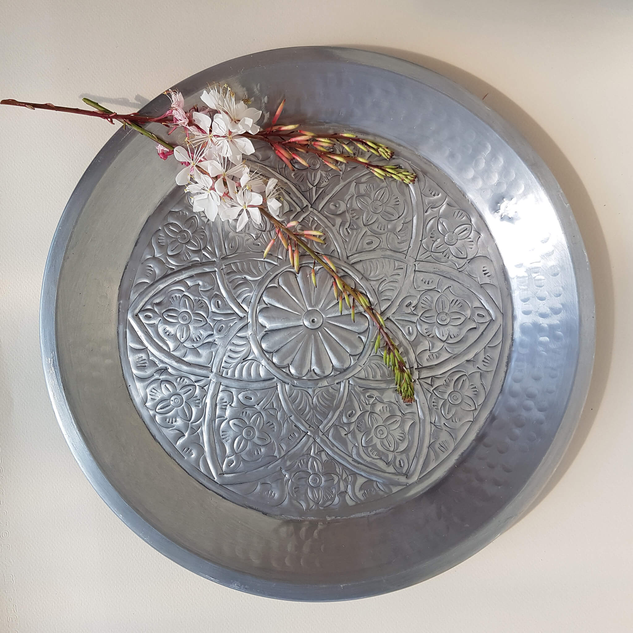 Van Verre Indian Flower Tray hand beaten metal silver colour - Unik by Nature