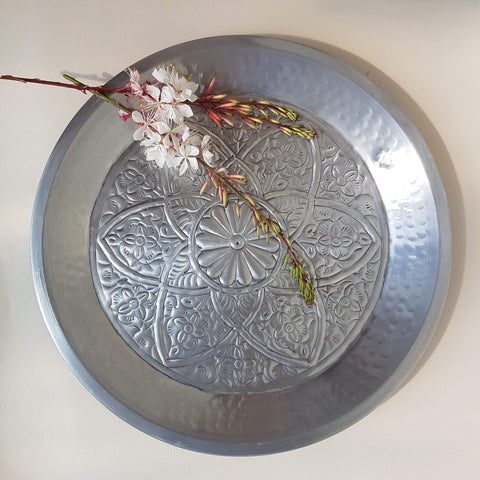 Indian Flower Tray hand beaten metal silver colour - Unik by Nature