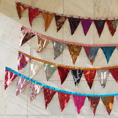 Silk Route Triangle Garland made of recycled Saris - Unik by Nature