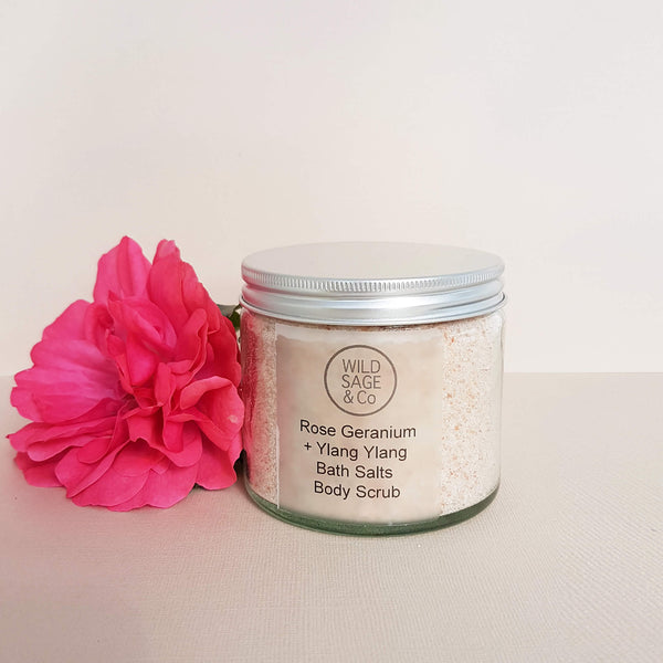 Wild Sage & Co Bath Salts Rose Geranium Ylang Ylang - Unik by Nature