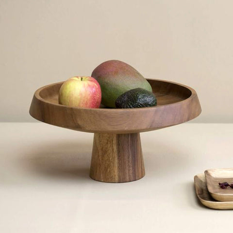 Acacia wood Fruit plate or cake stand - Unik by Nature