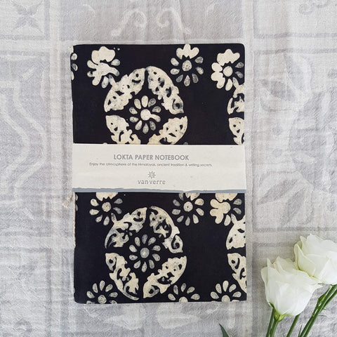 Handmade Lokta Paper Note Book Black & White Flower Pattern Size L - Unik by Nature