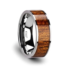 BOLO Flat Tungsten with Exotic Mahogany Hard Wood Inlay - 8mm
