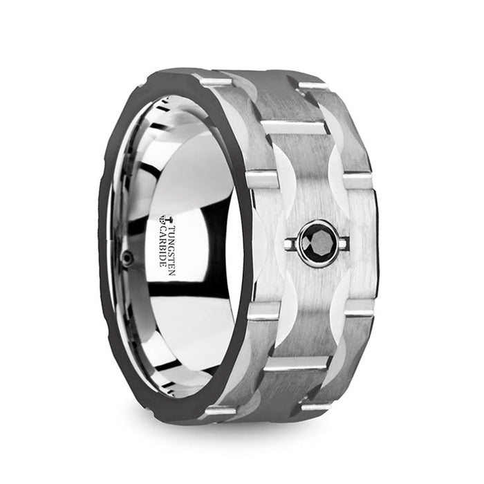SAINT Brushed Tungsten Band with Grooves & Black Diamond - 10mm