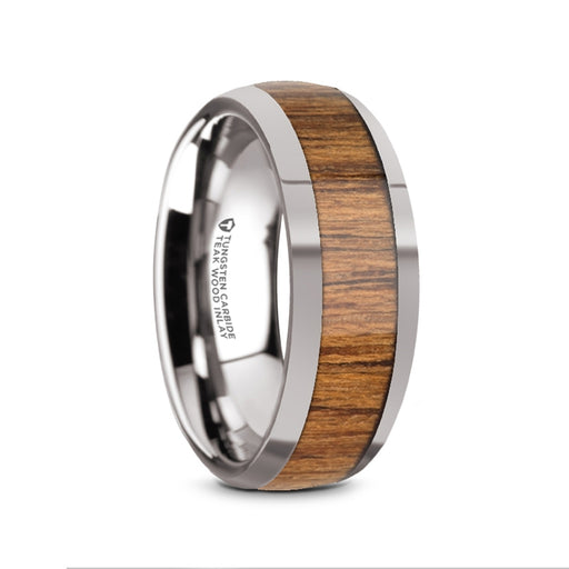 THEKKA Domed Tungsten Carbide Polished Edges Teak Wood Inlaid Band - 8mm