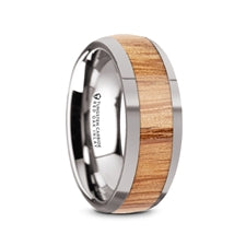CINDER Domed Tungsten Band with Red Oak Wood Inlay - 8mm