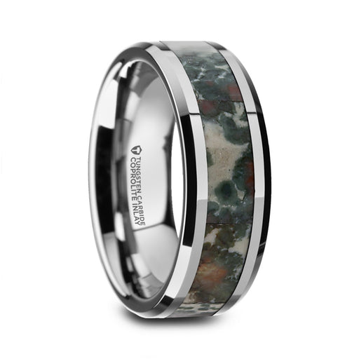 CRETACEOUS Tungsten Carbide Beveled Band with Coprolite Fossil Inlay - 8mm