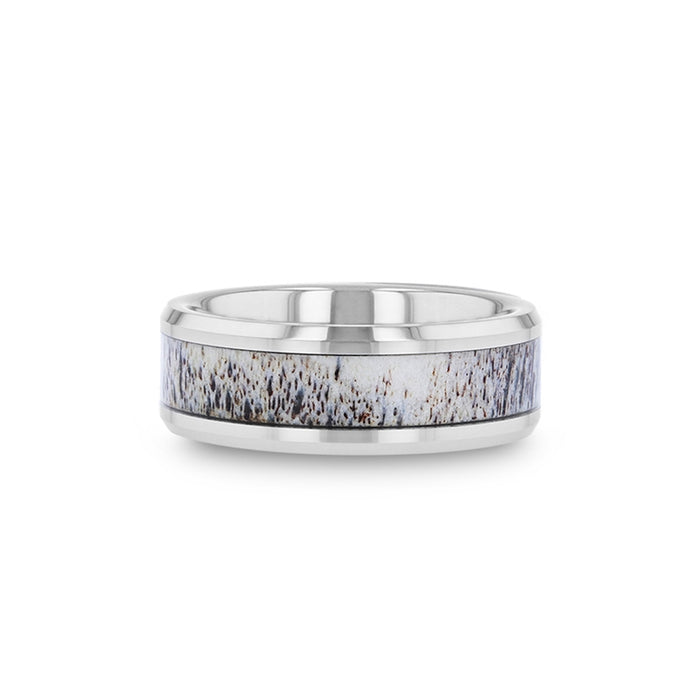 BUCK Polished Beveled Tungsten Band with Ombre Deer Antler Inlay - 8mm