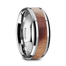 BELDI Olive Wood Inlaid Tungsten Carbide Ring 8MM