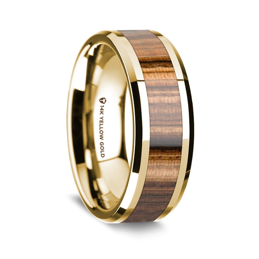 14K Yellow Gold Beveled Edge Band with Zebra Wood Inlay - 8 mm