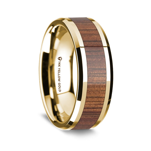 14K Yellow Gold Beveled Edge Band with Rare Koa Wood Inlay - 8 mm
