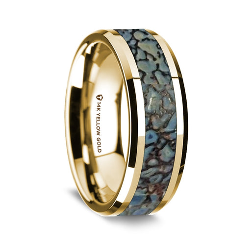 14K Yellow Gold Beveled Edge Band with Blue Dinosaur Bone Inlay - 8 mm