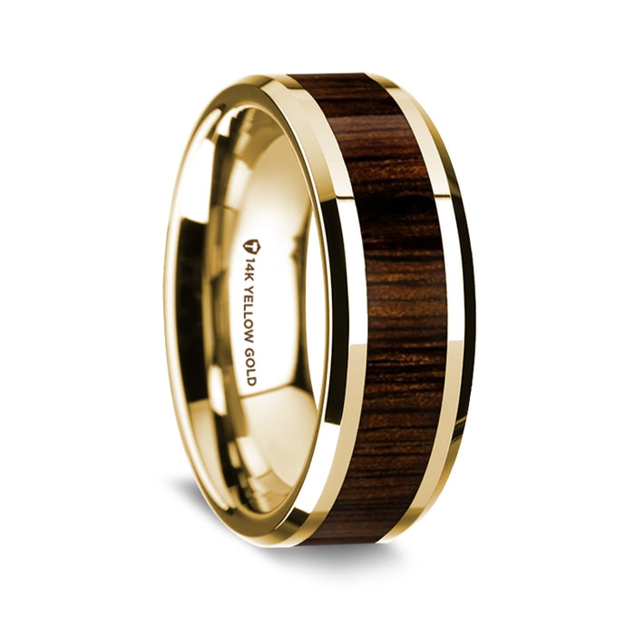 14K Yellow Gold Beveled Edge Band with Black Walnut Wood Inlay - 8 mm