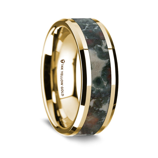 14K Yellow Gold Beveled Edge Band with Coprolite Inlay - 8 mm