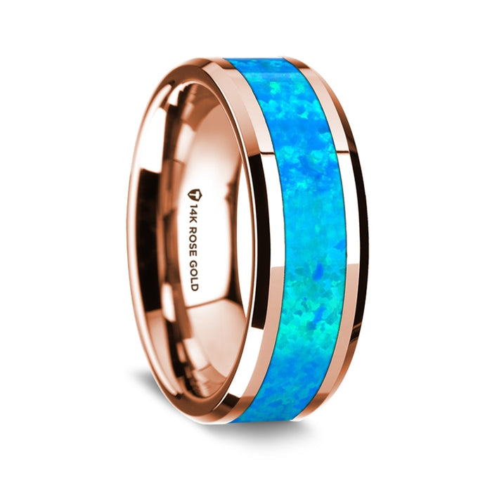 14k Rose Gold Beveled Edge Band with Blue Opal Inlay - 8 mm