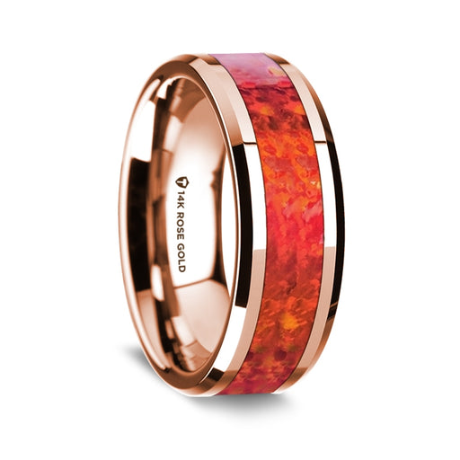 14k Rose Gold Beveled Edge Band with Red Opal Inlay - 8 mm