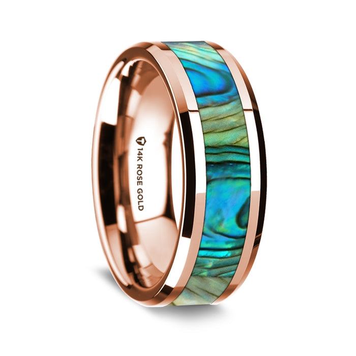 14k Rose Gold Polished Beveled Edge Band with Mother of Pearl Inlay - 8 mm