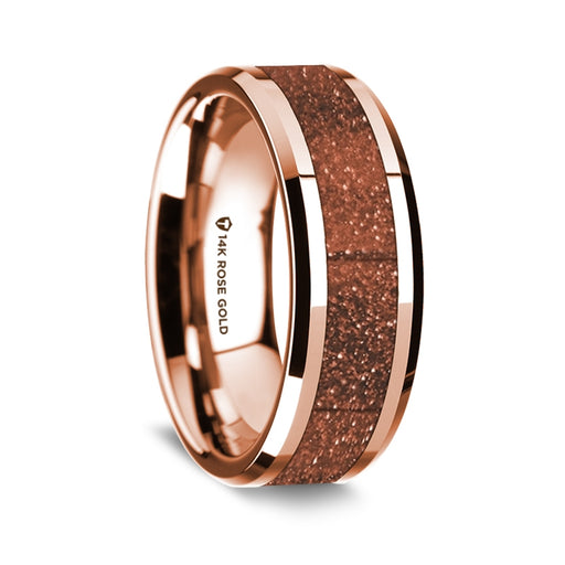 14K Rose Gold Beveled Edge Band with Orange Goldstone Inlay - 8 mm