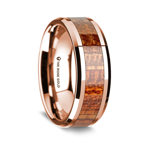 14K Rose Gold Beveled Edge Band with Mahogany Inlay - 8 mm