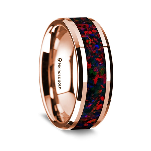 14K Rose Gold Beveled Edge Band with Black and Red Opal Inlay - 8 mm