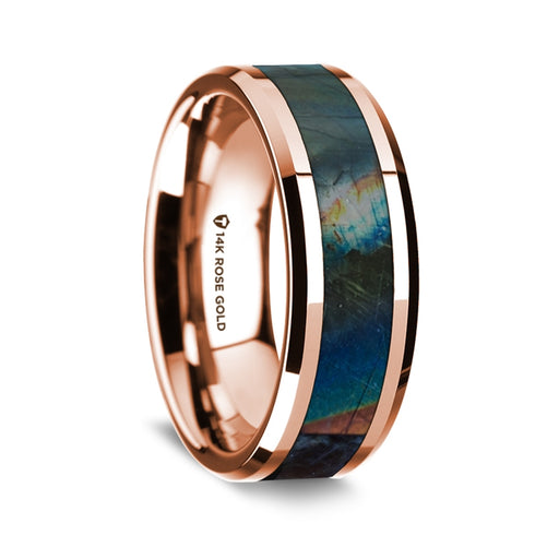 14K Rose Gold Beveled Edge Band with Spectrolite Inlay - 8 mm