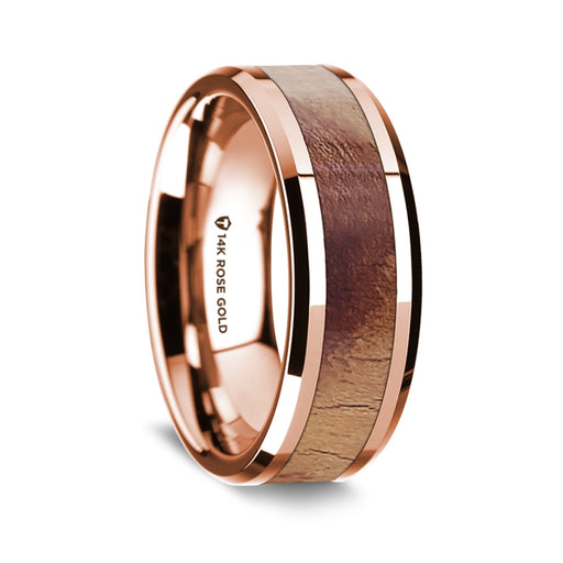 14K Rose Gold Beveled Edge Band with Olive Wood Inlay - 8 mm