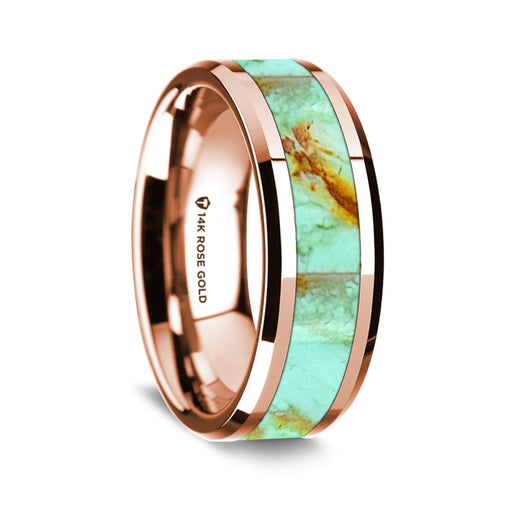14K Rose Gold Beveled Edge Band with Turquoise Inlay - 8 mm