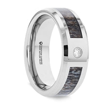 COLTON Tungsten Band with Diamond, Ombre Deer Antler Inlay