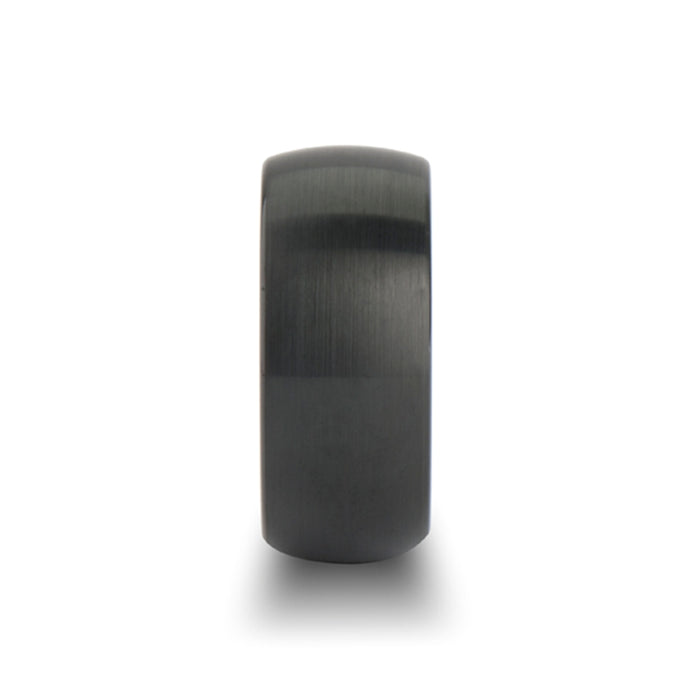 RAIDER Round Brush Finished Black Tungsten Carbide Band - 10mm - 12mm