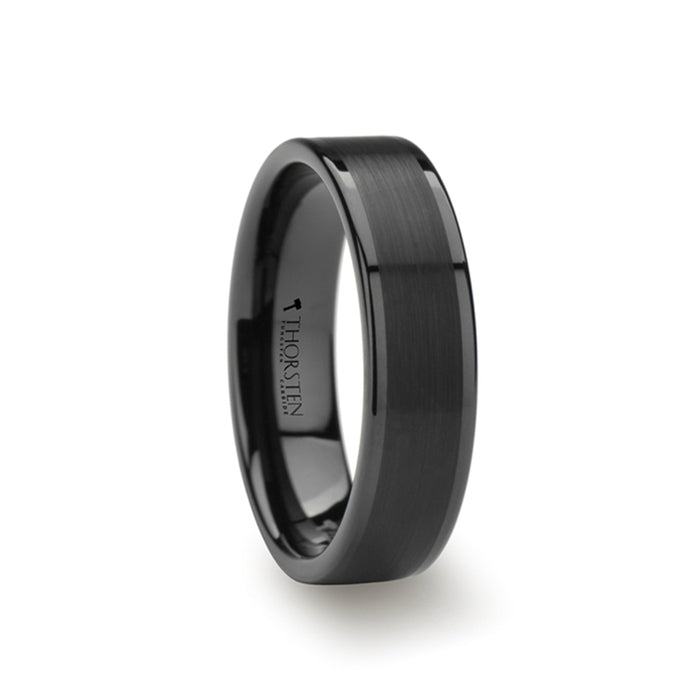 VULCAN Flat Black Tungsten Band with Brushed Center & Polished Edges - 4mm - 7mm