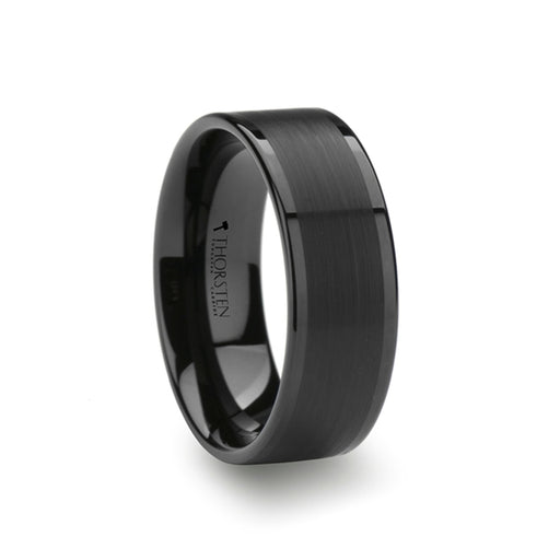 VULCAN Flat Black Tungsten Band with Brushed Center & Polished Edges - 8mm