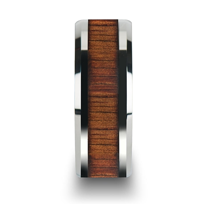 KONA Koa Wood Inlaid Tungsten Carbide Ring with Bevels - 4mm - 12mm