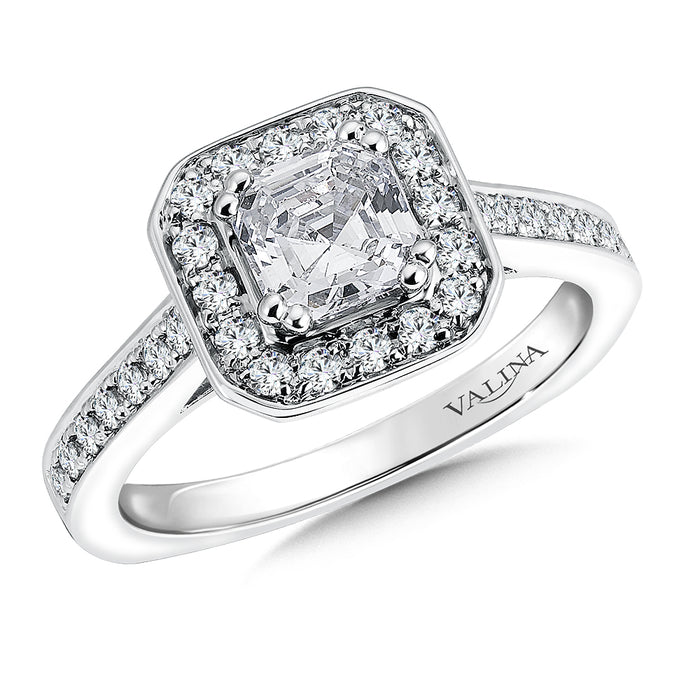Geometric shape halo mounting (0.35 ct. tw.) R9552W