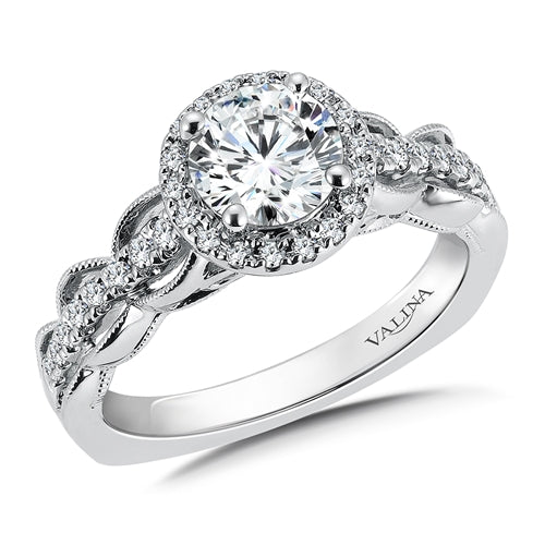 Valina Diamond Halo Engagement Ring Mounting in 14K White Gold (.28 ct. tw.)
