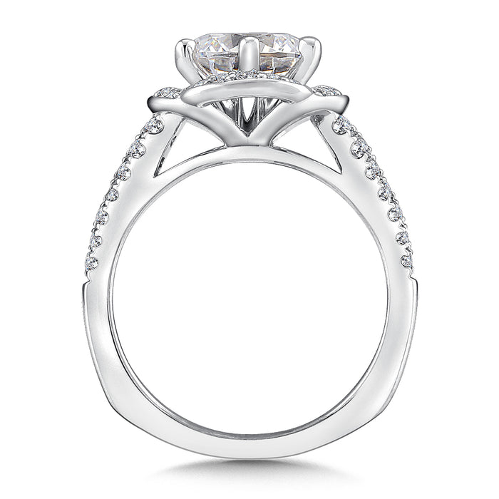 Halo Engagement Ring Mounting in 14K White Gold (.47 ct. tw.) R9697W