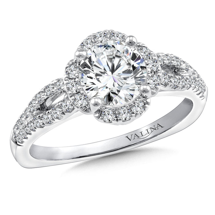 Halo Engagement Ring Mounting in 14K White Gold (.29 ct. tw.) R9712W
