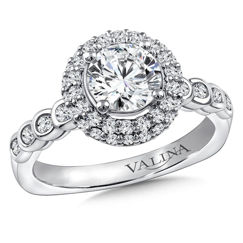 Valina Diamond Halo Engagement Ring Mounting in 14K White Gold (.56 ct. tw.)