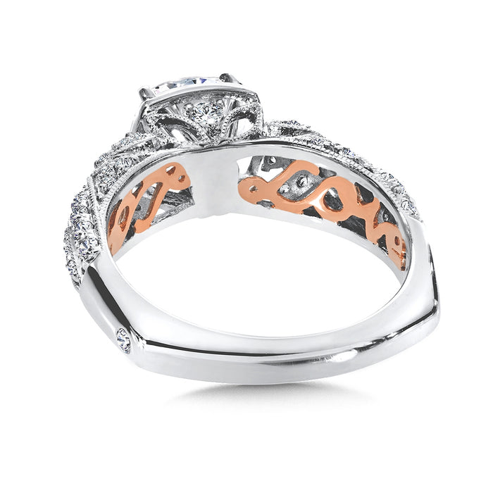 Valina Diamond Engagement Ring Mounting in 14K White/Rose Gold (.47 ct. tw.)