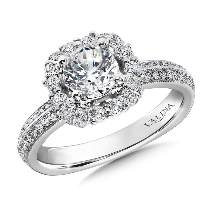 Halo Engagement Ring Mounting in 14K White Gold (.38 ct. tw.) R9823W