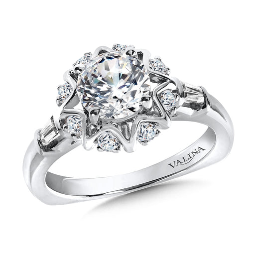 Halo Engagement Ring Mounting in 14K White Gold (.31 ct. tw.) R9824W