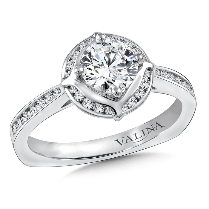 Halo Engagement Ring Mounting in 14K White Gold (.25 ct. tw.) R9840W