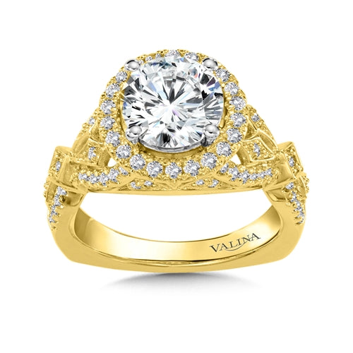 Valina Diamond Halo Engagement Ring Mounting in 14K Yellow Gold (.50 ct. tw.)
