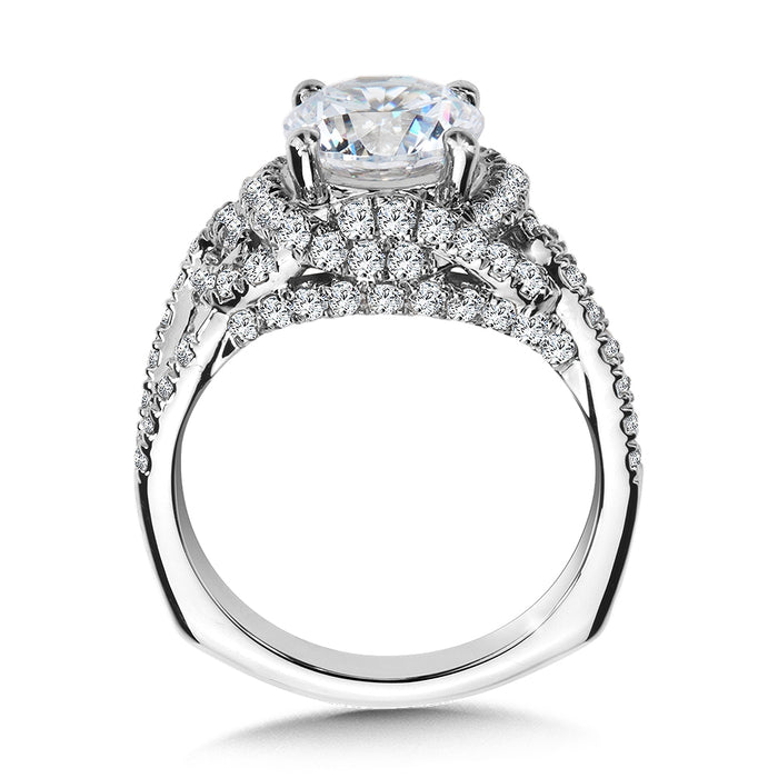 Valina Diamond Engagement Ring Mounting with Side Stones in 14K White (1.04 ct. tw.)