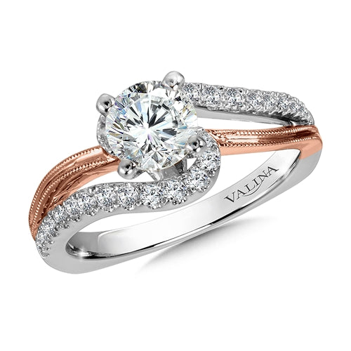 Valina Diamond Split Shank Engagement Ring Mounting with side stones in 14K White/Rose Gold (.29 ct. tw.)